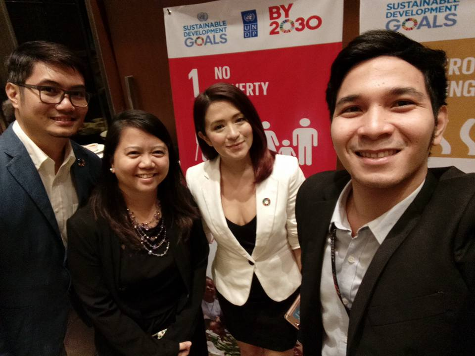 NETWORKING OF SDG CHAMPIONS. The Sustainability Team at the launch of the report with Antoinette Taus, SDG supporter and founder of Communities Organized for Resource Allocation