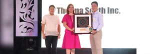 CO-CREATING A BETTER CITY. TSI Vice President and Plant Manager Valentin S. Saludes III (right) receives the top real property taxpayer award from Davao City Mayor Sara Z. Duterte (center) and City Assessor Jaime G. Adalin (left).