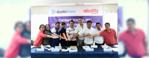 ADVANCING BUSINESS AND COMMUNITIES. Project partners and beneficiaries from various sectors ink their respective Memorandum of Agreement with AboitizPower subsidiary Therma South, Inc. (TSI) and Aboitiz Foundation, Inc. for the implementation of 10 corporate social responsibility (CSR) projects for the year 2018.  Present during the signing activity were (from L-R): Inawayan Elementary School Principal Raziel Francisco; Inawayan National High School Principal; Binugao Punong Barangay Antonio Saniel; Aboitiz Foundation First Vice President and COO Maribeth Marasigan; Davao City Vice Mayor Bernard Al-ag; TSI President and COO Sebastian Lacson; Inawayan Punong Barangay Romulo Elula; United Kaibigan Multipurpose Cooperative President Charlo Deniega; DepEd Davao del Sur Education Program Supervisor Christopher Felipe).
