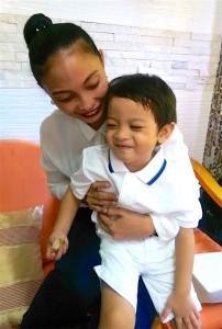 Amy with her son, Myca.