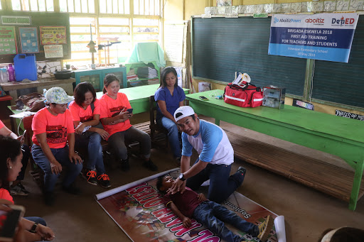 SAVING LIVES. TSI team members give a helping hand during the first aid training for teachers of Inawayan Elementary School.
