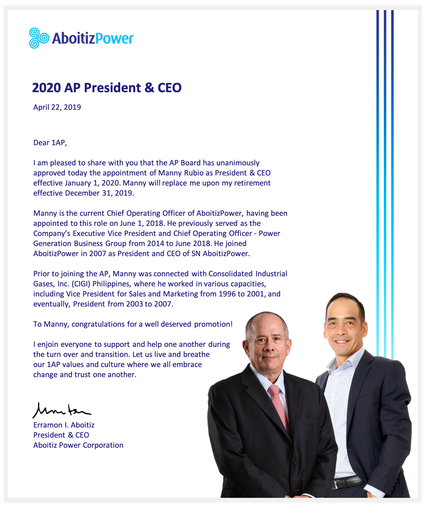 EIA Message - 2020 AP President & CEO