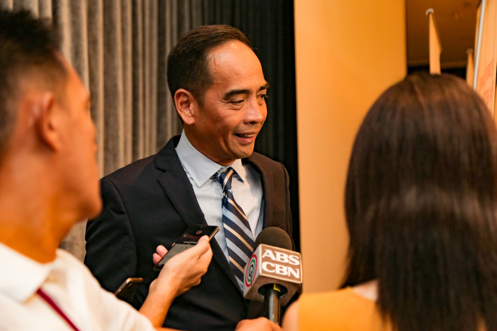 AboitizPower COO Manny Rubio speaks to members of the media at the press conference for the Aboitiz 2019 Annual Stockholders Meeting.