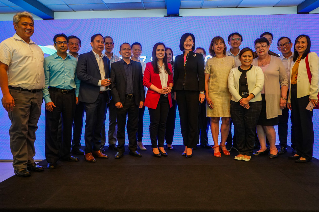 Aboitiz Foundation COO Maribeth Marasigan with AIM officials at the unveiling of the Aboitiz School of Innovation, Technology & Entrepreneurship