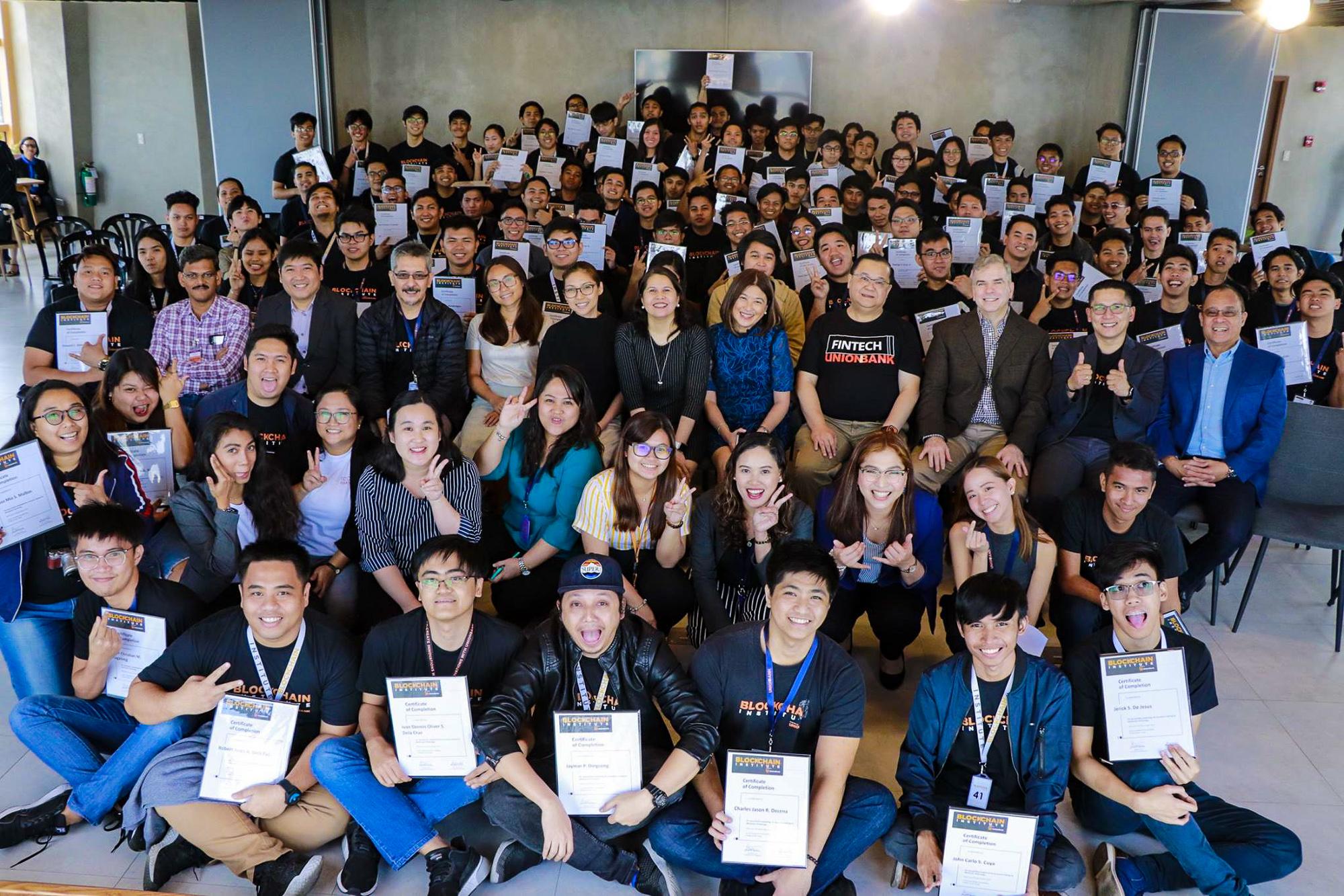 THE FIRST 100. Blockchain Institute's Batch 1 graduates with UnionBank President & CEO Edwin Bautista and UnionBank HR Director Michelle Rubio
