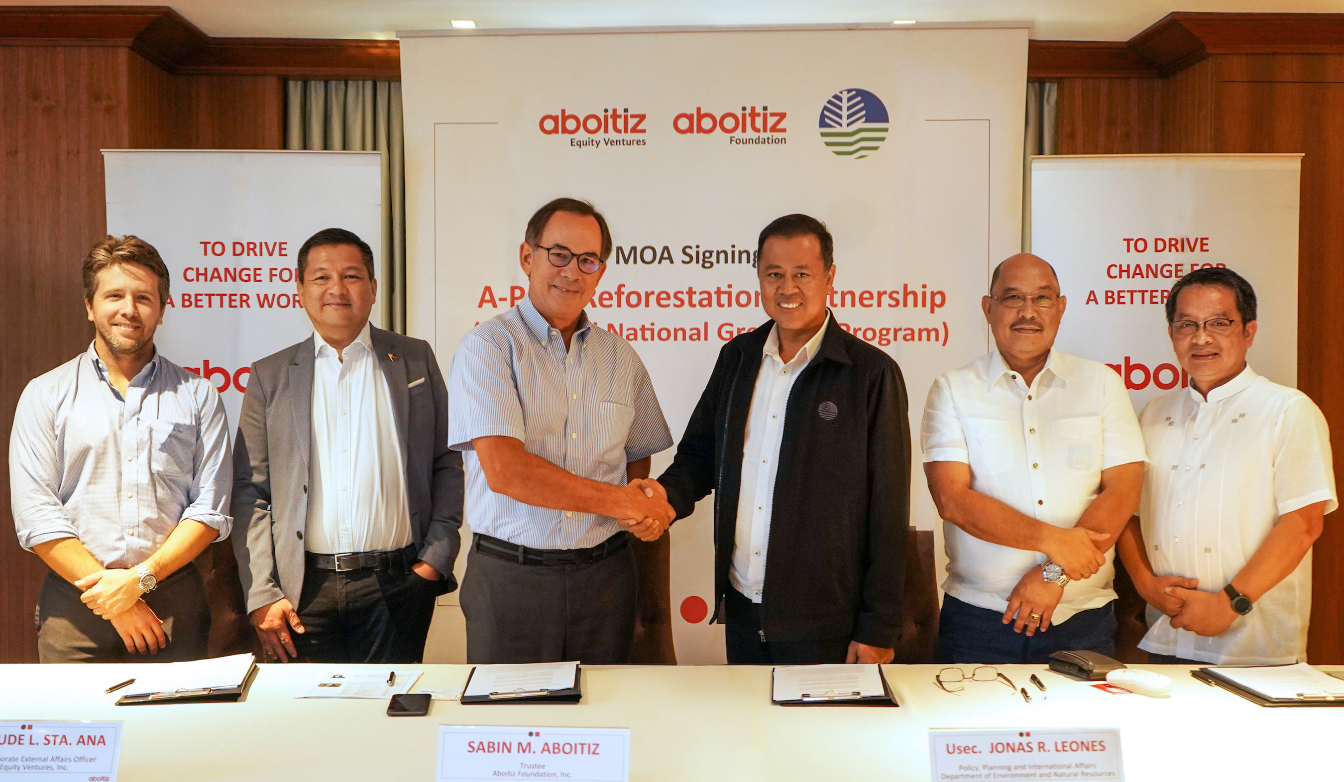 PARTNERSHIP RENEWED. THE DENR renewed its partnership with the Aboitiz Group which will promote ecological balance, including the Aboitiz Group's planting of up to 9 million trees by 2020. The MOA signing was undertaken and witnessed by (from left) Carlos Aboitiz, Hedcor President and Chief Operating Officer (COO); David Jude Sta. Ana, Aboitiz Equity Ventures, Inc. (AEV) Chief Corporate External Affairs Officer; Sabin M. Aboitiz, AEV COO; Jonas R. Leones, DENR Undersecretary for Policy, Planning, and International Affairs; Ricardo Calderon, DENR Assistant Secretary; and Nonito Tamayo, DENR Director, Forest Management Bureau.
