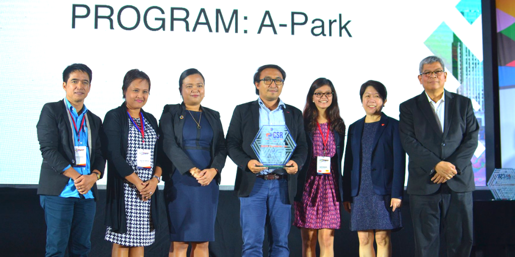 """Members of the Aboitiz Sustainability group represented the proponents of the """"A-Park"""" project, hailed as one of the Finalists in the Outstanding CSR Project for Environment category during the LCF CSR Guild Awards 2019."""