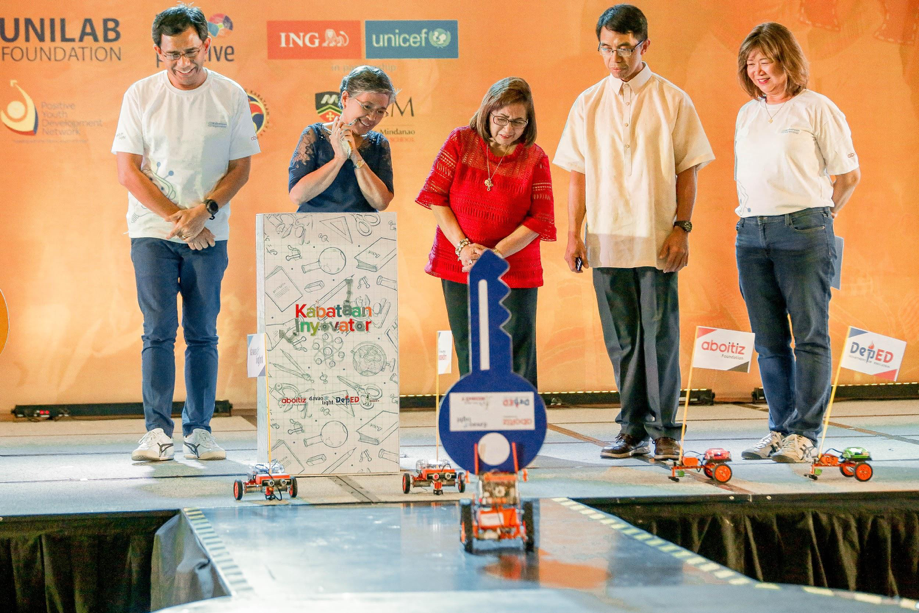 (From left) Davao Light President Rodger Velasco, DepEd Davao City School Governance and Operations Division Dr. Teresita Del Valle, Pinoy Robot Games founder Melvin Matulac, Davao City Councilor Pilar Braga, and Aboitiz Foundation Chief Operating Officer Maribeth Marasigan at the launch of Kabataan Inyovator, the Aboitiz Group's robotics competition that aims to foster innovation through robotics.