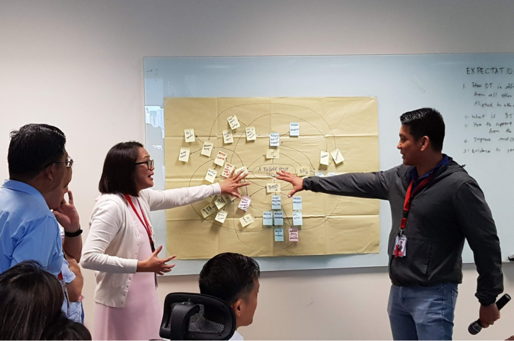 Annacel and Andy Torato (AEV AVP Physical Assets Security) exchange ideas during a design thinking workshop for the team.