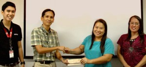PARTNERING TO UPLIFT LIVES. Aboitiz Foundation's Jun Ivan Covancha and Davao Light's Community Relations Manager Fermin P. Edillon with GWFDA's Salome Ampon and AdDU-MICD's Perpevina Tio.