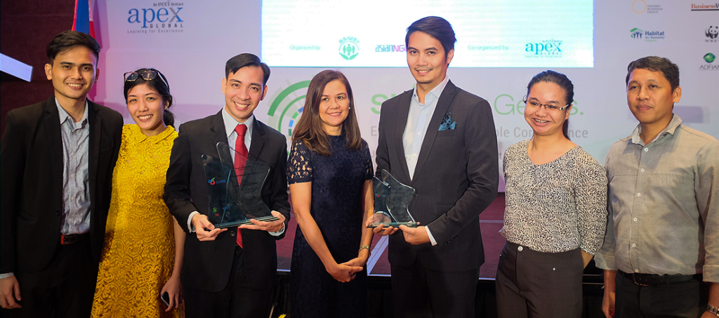 BACK-TO-BACK SUSTAINABILITY WIN. The ASEAN Corporate Sustainability Summit Awards program aims to support organizations in the process of evaluating their sustainability strategy, performance, and goals. (L-R): AEV Corporate Branding and Communication Specialist Rohj Mariano, AEV Sustainability Specialist Elina Mendoza, WeatherPhilippines Foundation General Manager Dave Michael V. Valeriano, AEV Vice President for Reputation Management Malou Marasigan, AEV Corporate Communication Manager Dave Jesus Devilles, and UnionBank Sustainability Officer Janely Bontia.