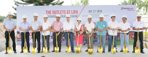 SOON TO RISE: LIPA CITY'S OWN 'THE OUTLETS'. Leading the ceremony are (from left): Steve Araneta, VP for External Affairs, AboitizLand; Andoni Aboitiz, President and CEO, AboitizLand; Atty. Leo Latido, Lipa City Administrator; Councilor Joel Pua - Chairman, Committee on Land Use and Zoning; Patrick Reyes, COO, AboitizLand; Rafael de Mesa, First Vice President of Operations, AboitizLand; Charity Marohombsar, Head of Industrial Business Unit, AboitizLand; Engr. Pongz Medina, VP for Construction, AboitizLand; Geremy Manas, PEZA Zone Manager; Architect William Ti - Principal Architect, WTA; Teodoro Rodriguez - President, JCRCC, and Engr. Roy Ruedas - AVP of Operations, ACGI.