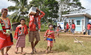 BRINGING LIGHT TO HOMES. Forty (40) Lumad households received Deep Cycle Batteries, which will be charged using the solar charging station installed by Davao Light and Power Co. at Sitio Malambuon, Malabog, Paquibato District, Davao City.