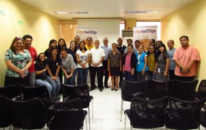 PERAPERASYON ANG SOLUSYON. DepEd Central Office personnel gained insights from from City Savings Bank's Project Peraparasyon last May 19. With them are CitySavings Chairman of the Board Eugene Acevedo (back row, center), EVP – Channel Management Levi Villanueva (front row, 7 th from left), DepEd Undersecretary for Finance Victoria Catibog (front row, 8th from left), and Reputation Management Head Paula Viegelmann – Ruelan (leftmost).