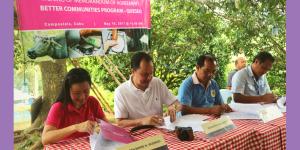 DISCOVERING COMPOSTELA'S TREASURE. Signing of Memorandum of Agreement (from Left to Right) Ms. Noreen Marie N. Vicencio, AVP for CSR; Mr. Andoni F. Aboitiz, AboitizLand CEO; Mr. Nestor Campaner, COMAVEMCO Chairperson; and Mr. Ebonito Alivio, COMAVEMCO General Manager.