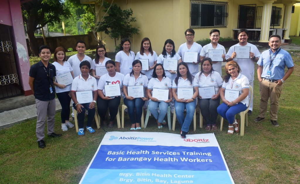 SAFE AND HEALTHY COMMUNITIES. Barangay Health Workers complete the two-day training organized by AP Renewables, Inc. (APRI) MakBan together with the Rural Health Unit of Bay Municipality in Laguna.