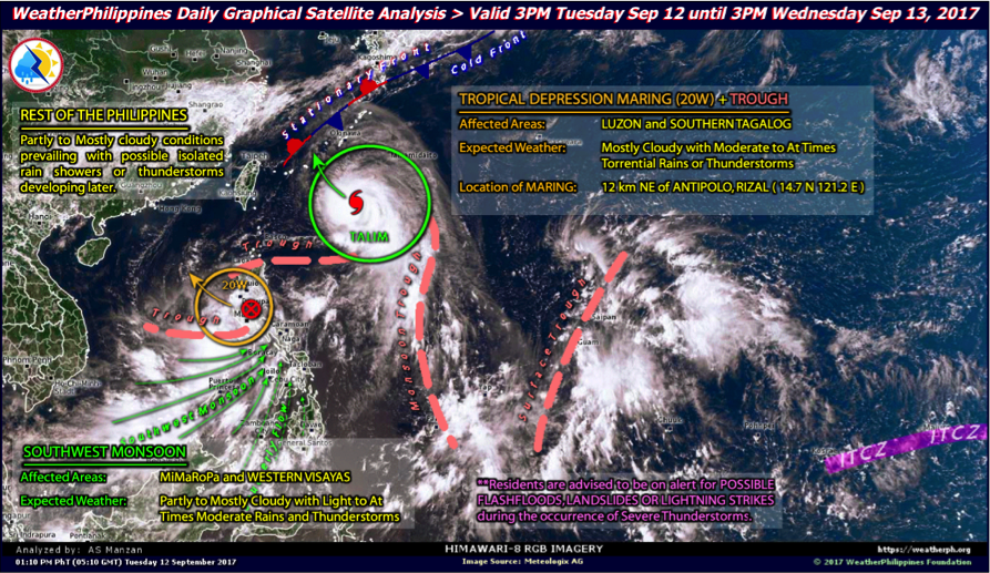 Recent surface analysis around the region with two (2) distinct Tropical Cyclones inducing the Southwest Monsoon (Habagat).