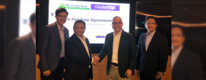 EXPANDING THE MASS MARKET REACH: UnionBank's thrift arm CitySavings recently signed a Share Purchase Agreement (SPA) with the ROPALI Group to acquire 100% of the common shares of Philippine Resources Savings Bank (PR Savings). (From L-R) PR Savings Bank President Emmanuel Benitez, ROPALI Group Chairman and Founder Roberto Alingog, UnionBank SEVP – Chief Mass Market and Financial Inclusion Executive and CitySavings Chairman Eugene Acevedo, and CitySavings President and CEO Catalino Abacan.