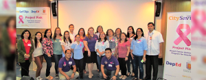 TEACHER WELFARE:  A group of selected public school teachers from different divisions of Central Visayas together with CitySavings Reputation Management Head Paula Ruelan (center) and Regional Business Head Ryan Bascug (right most) during the Project Pink forum last October 20.