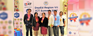 CENTRAL VISAYAS ICT SUMMIT: DepEd Region 7 Director Dr. Juliet Jeruta (center) together with Assistant Director Dr. Salustiano Jimenez (3rd from right), DepEd officials and other guests during the ICT Summit 2017 held at Golden Peak Hotel, Cebu City last November 13-14.
