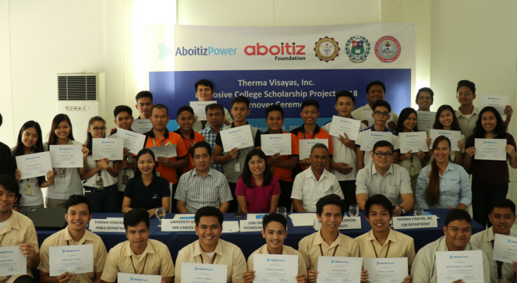 PROUD SCHOLARS. TVI's student beneficiaries display their certificates of scholarship during a turnover ceremony in Cebu City on February 19, 2018.