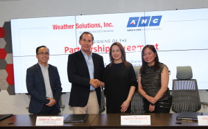 (From left) Weather Solutions President Jojo Z. Marasigan, AEV Chief Operating Officer Sabin M. Aboitiz, ANC Chief Operating Officer Cilette Liboro-Co, and Head of ANC News Production Nadia Trinidad during the signing of the Partnership Agreement between Weather Solutions and ANC