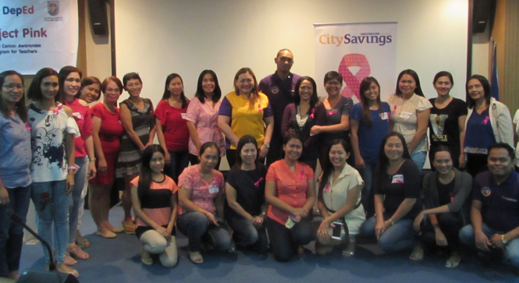 WOMEN MAKE CHANGE:  A group of selected public school teachers from the division of Danao City together with CitySavings Reputation Management Head Paula Ruelan (standing, 9th from left), CitySavings Mandaue Branch Marketing Associate Jasper Macalam (standing, 10th from left) and CitySavings Mandaue Branch Business Head Ramel Ornopia (seated, rightmost) during the Project Pink forum last March 23 at EADSC, Cebu City.