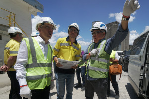 Trade and Industry Secretary Ramon M. Lopez (rightmost) discusses how Republic Cement can support the 'Build, Build, Build' program with Republic Cement Services, Inc. President Mr. Nabil Francis (leftmost), and Republic Cement Project and Engineering Director Ferdinando Milesi (center).