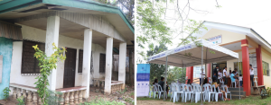 ADVANCING HEALTH SERVICES. One of the most significant changes in Inawayan over the last three years was the construction of their new barangay health center (right) donated by Therma South in partnership with Aboitiz Foundation.
