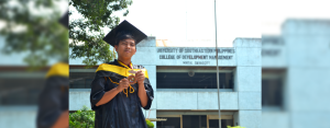 DETERMINATION. Graduating cum laude from the University of Southeastern Philippines-Mintal, Hedcor scholar Patrick Anoba proves that financial struggles are not a hindrance to a determined soul.