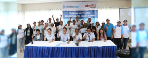 FUTURE IN THEIR HANDS. Scholars of AboitizPower subsidiary Therma South, Inc. and Aboitiz Foundation, Inc. with (front row L-R) TSI Corporate Social Responsibility Specialist Lou Jason Deligencia, TSI Human Resources and Quality Manager Rhowena Panizales, TSI Vice President and Plant Manager Valentin Saludes III, Binugao Punong Barangay Remegio Saniel, TSI Manager for Reputation and Stakeholder Management Jason Magnaye, and USeP Scholarship Coordinator John Paullette Viernes.