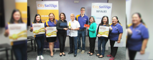 GAWAD CFI GROUP LEVEL OUTSTANDING THRIFT BANK AWARDEE:   CitySavings EVP – COO Levi Villanueva (center) receives the Gawad CFI Group Level Outstanding Thrift Bank Award from LANDBANK SVP - Corporate Banking Group Head Ma. Celeste Burgos (3rd from left). They were joined by VP - Financial Institutions Department Head Cielito Lunaria (6th from left), and Account Officer Elaine Ramirez – Manalo (7th from left); as well as CitySavings VP – Treasury Head Carlos Kahn (5th from left), Reputation Management Head Paula Ruelan (2nd from left) and the rest of the Treasury Team.