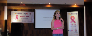 STORY OF HOPE: Breast cancer survivor Ron Bernade-Flores courageously reminisced her journey from diagnosis to undergoing medication, surgeries, chemotherapy and life after treatments during CitySavings' Project Pink session for Cebu Province public school teachers.