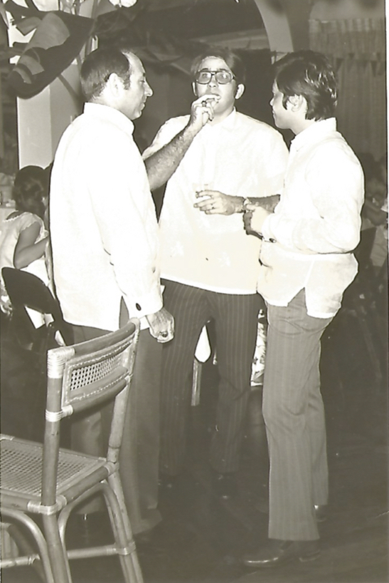 JRA with Mario Ugarte and Bobby Orig at an Aboitiz & Company founding anniversary party from the early '70s, which was held on board one of the Aboitiz shipping vessels. (Photo courtesy of Mr. Bobby Orig)