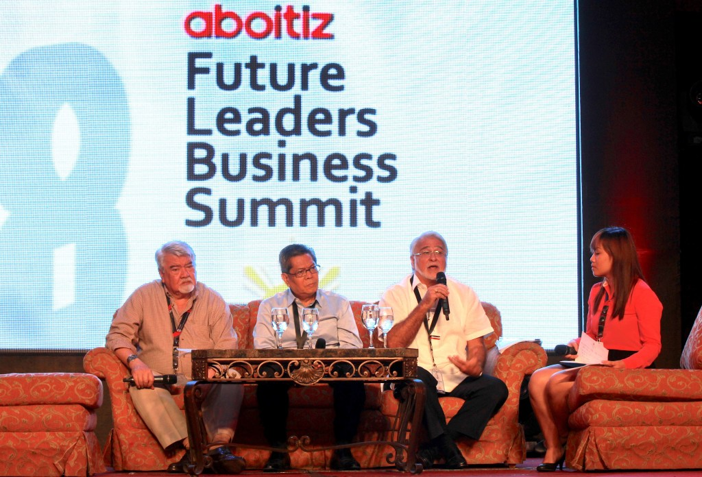 The Aboitiz Group's pillars Romy Ronquillo, Bobby Orig, and JRA at the 8th Aboitiz Future Leaders Business Summit in Cebu, August 2013.