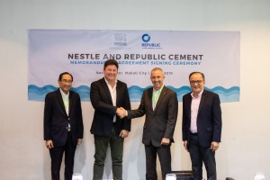 Nestlé, Republic Cement ink MOA on co-processing of plastic wastes. Nestlé Philippines and Republic Cement and Building Materials, Inc. have signed a memorandum of agreement for the cement kiln co- processing of post-consumer plastic wastes, a major source of environmental pollution. The agreement was signed by CEO and President Kais Marzouki (2 nd from left) and Corporate Affairs Head Atty. Ernesto Mascenon (right) of Nestlé Philippines, and President Renato Sunico (left) and Director Nabil Francis (3 rd from left) of Republic Cement and Building Materials, Inc. Mr. Francis is concurrently CEO of Republic Cement Services, Inc..