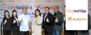 From L–R: Lalamove Strategic Partnerships Lead Cherianne Mangrobang; Lalamove Strategic Partnerships Manager Akiko Sumulong; CitySavings Managing Director – Motorcycle Loans Business Group Adm. Feliciano A. Angue, (Ret.); Lalamove Managing Director Dannah Majarocon; CitySavings Vice-President – Motorcycle Loans Business Group Ruel Aquino, & CitySavings Asst. Vice-President  – Motorcycle Sales Head Eric Valdez