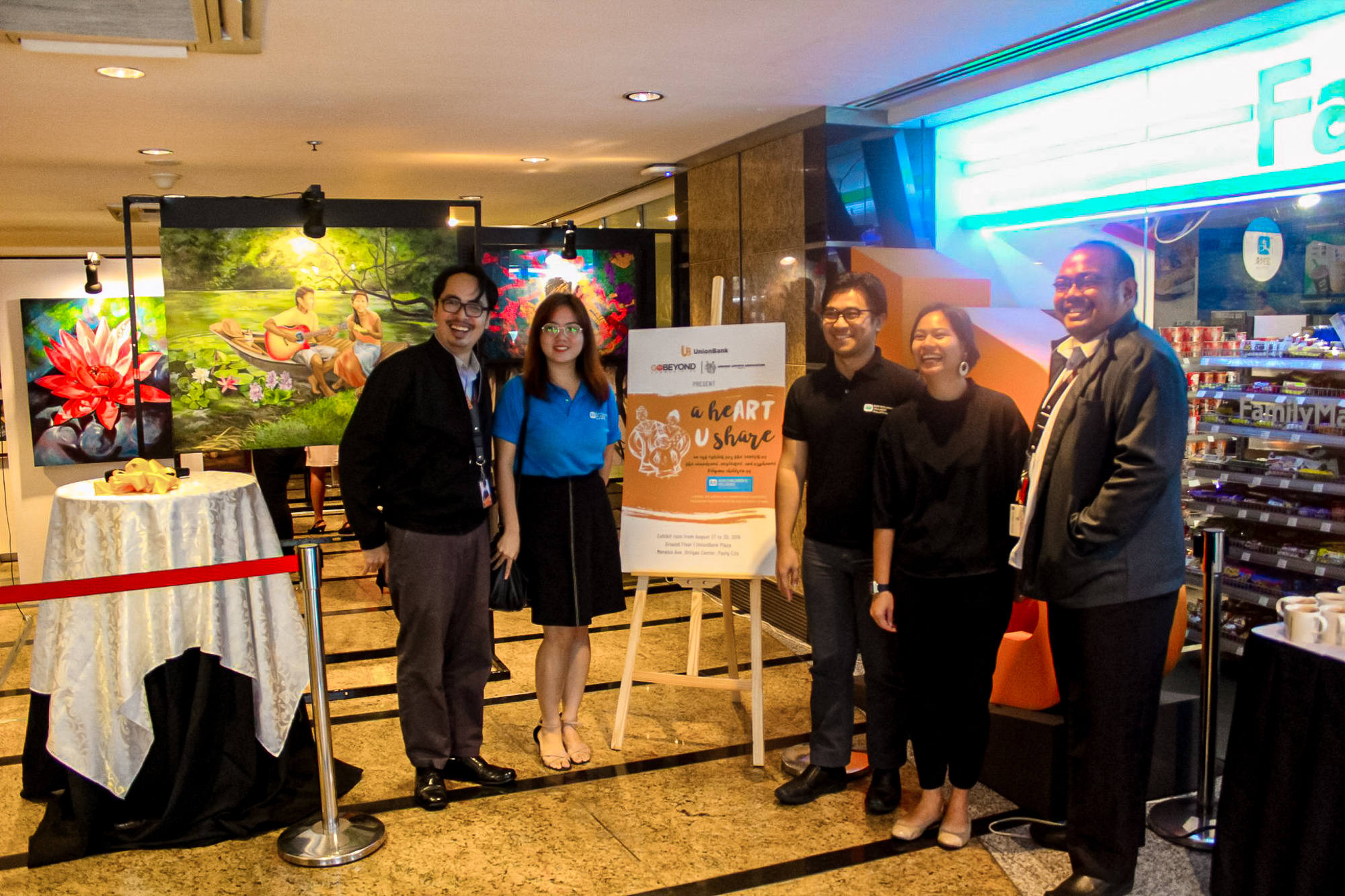 (From left) Kim Unidad, SOS Children's Villages Corporate Relations officers Ruth Angeli Pascua and Admore Alzate, UnionBank CSR Manager Ilene Geronimo, and UnionBank General Services Officer John Leslie Andres