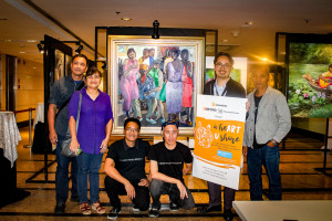 """(From left) Angono artists Manuel Alejandro and wife Joy, Jon Del Rio, AAA President Fredrick Sausa, UnionBank's Kim Unidad, and Felix Amoncio 