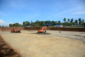 WATER TREATMENT PLANT - Earthworks for laying and compaction are ongoing for the Flocculation and Settling Tanks at the Water Treatment Plant site.