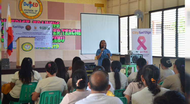 A STORY OF HOPE: Breast cancer survivor Edna Magsoling, Assistant Principal of Bung-aw Elementary School in Bogo City, Cebu shared her journey to the teachers of Madridejos District, Bantayan Island during a Project Pink forum organized by CitySavings and RAFI - EJACC.