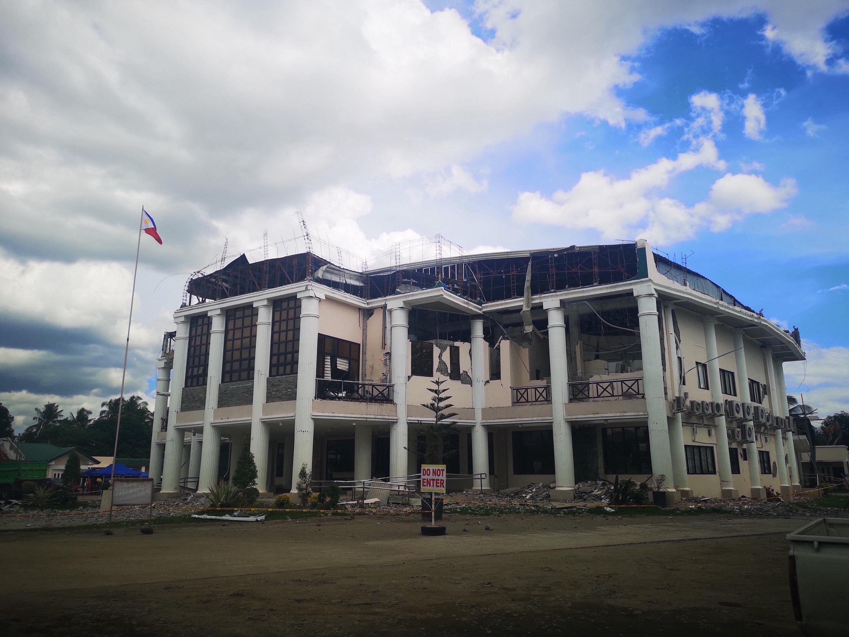 The damaged municipal hall of Magsaysay, Davao del Sur